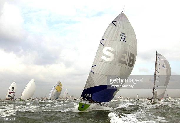 Team SEB lead the fleet at the start of the Volvo Ocean Race from Cowes UK DIGITAL IMAGE Mandatory Credit Stephen Munday/ALLSPORT