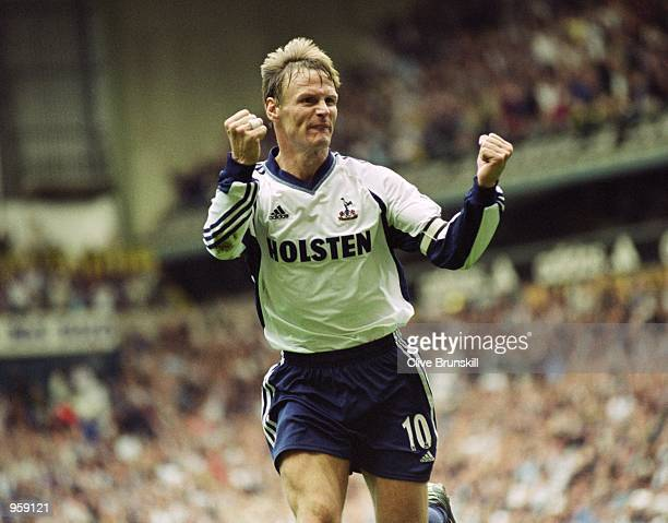 Teddy Sheringham celebrates scoring a goal during the FA Barclaycard Premiership match against Chelsea played at White Hart Lane in London Chelsea...