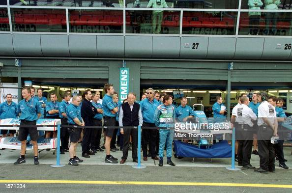 The Benetton garage during the minutes silence at the Italian Grand Prix at Monza Italy Mandatory Credit Mark Thompson/ALLSPORT