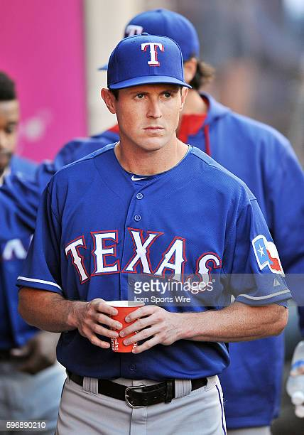 Texas Rangers outfielder Drew Stubbs in the dugout before the start of a game against the Los Angeles Angeles of Anaheim played at Angel Stadium of...