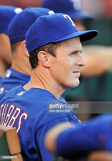 Texas Rangers outfielder Drew Stubbs in the dugout during a game against the Los Angeles Angeles of Anaheim played at Angel Stadium of Anaheim
