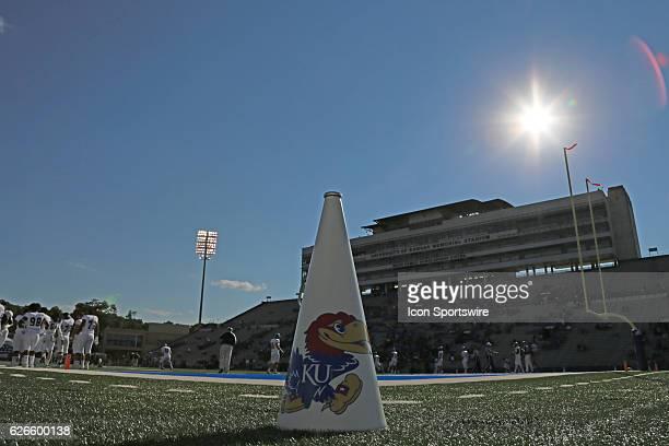 A KU yell leader's megaphone before in the NCAA football season opener between the Rhode Island Rams and Kansas Jayhawks at Kivisto Field at Memorial...