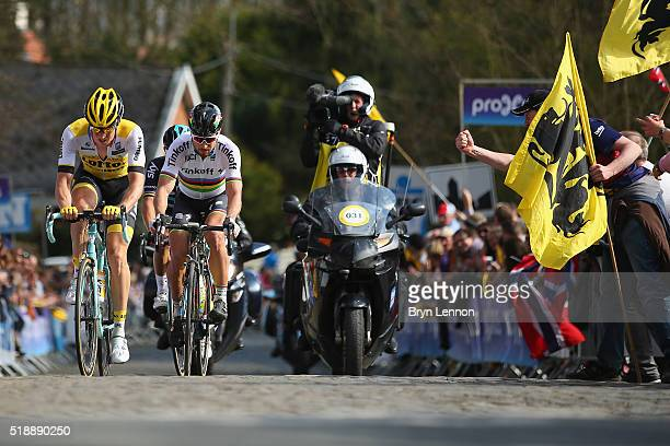 Sep Vanmarcke of Belgium rides with Peter Sagan of Slovakia and Tinkoff during the 100th edition of the Tour of Flanders from Bruges to Oudenaarde on...