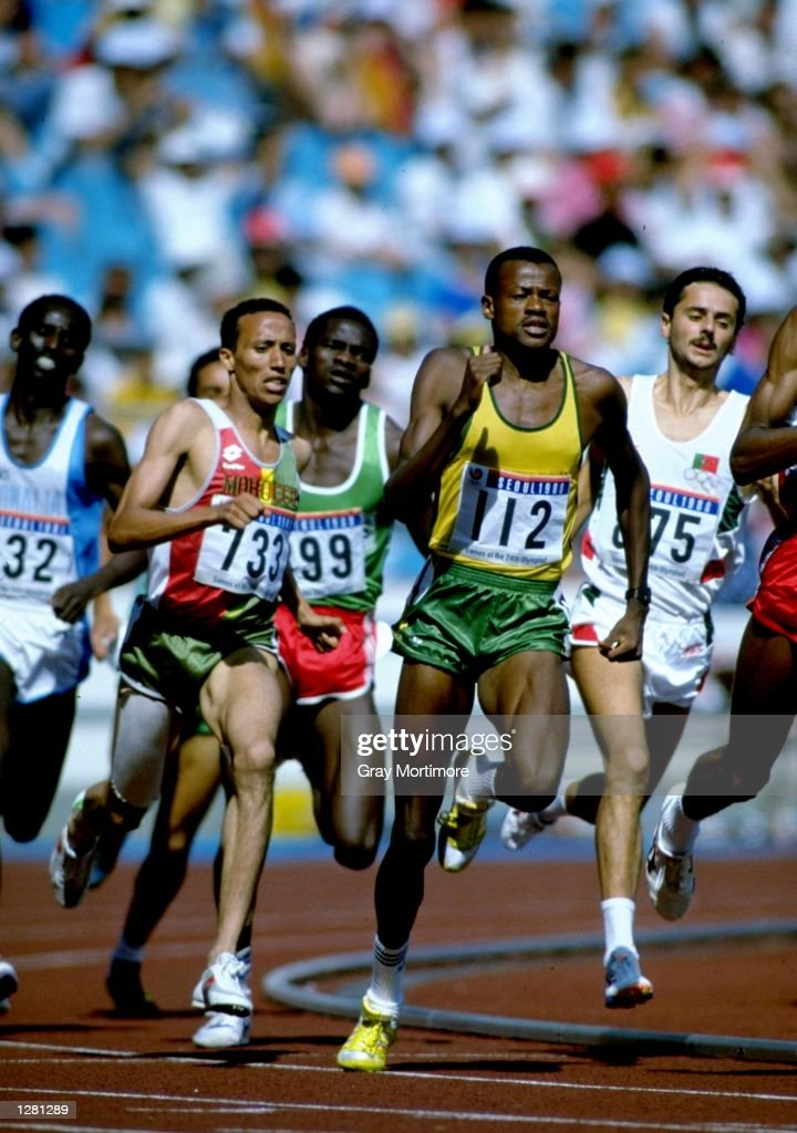 Jose-Luis Barbosa #112 of Brazil in action during the Mens 800 metres semi-final of the 1988 Olympic Games at the Olympic Stadium in Seoul, South Korea. \ Mandatory Credit: Gray Mortimore/Allsport