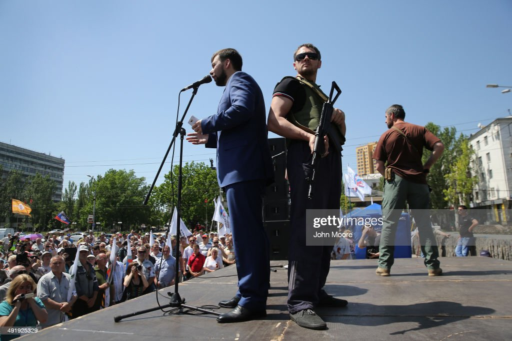 Separatist pro-Russian leader Denis Pushilin addresses a demonstration in Lenin Square on May 18, 2014 in Donetsk, Ukraine. He and fellow supporters of the self-proclaimed 'Donetsk People's Republic' have denounced the upcoming Ukranian presidential elections scheduled for May 25.