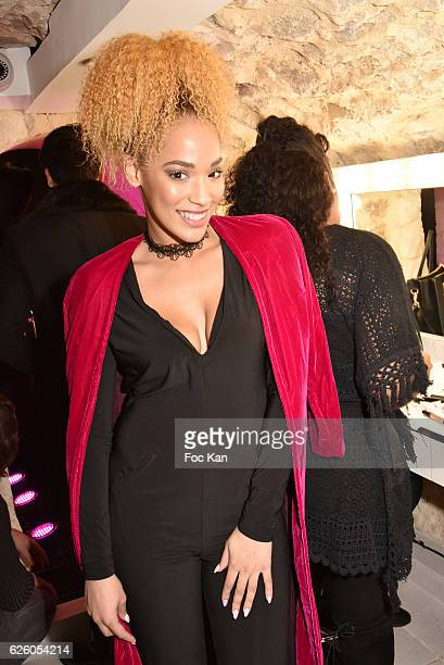 Sephora Coman wife of footballer Kingsley Coman attends LA Girl Paris Cosmetics Launch and Fahaid Sanober 8TH Anniversary Cocktail at 32 rue Faubourg...
