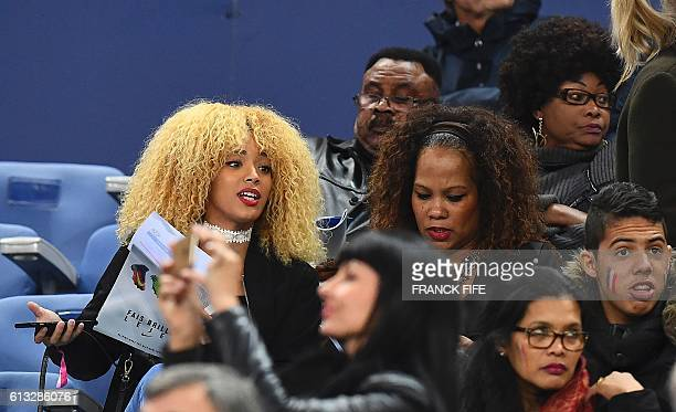 Sephora Coman wife of France's forward Kingsley Coman reacts during the FIFA World Cup 2018 qualifying football match France versus Bulgaria on...