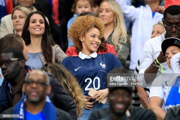 Sephora Coman wife of France's Kingsley Coman in the stands