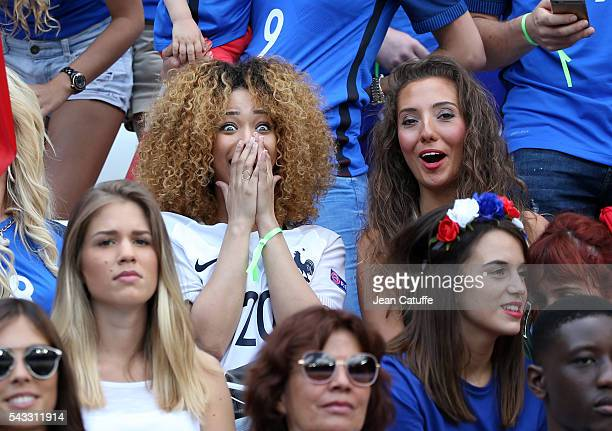 Sephora Coman wife of Kingsley Coman and Tiziri Digne wife of Lucas Digne attend the UEFA EURO 2016 round of 16 match between France and Republic of...