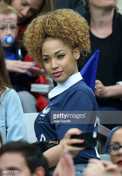 Sephora Coman wife of Kingsley Coman attends the UEFA Euro 2016 quarter final match between France and Iceland at Stade de France on July 3 2016 in...