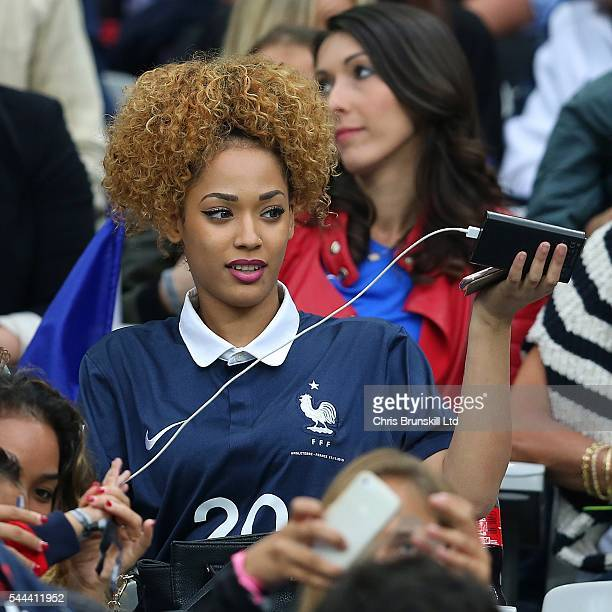 Sephora Coman wife of Kingsley Coman of France looks on during the UEFA Euro 2016 Quarter Final match between France and Iceland at Stade de France...