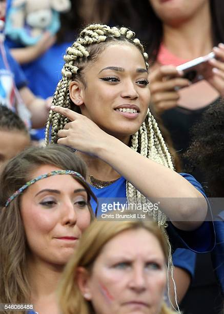Sephora Coman wife of Kingsley Coman of France looks on during the UEFA Euro 2016 Final match between Portugal and France at Stade de France on July...