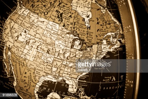 Sepia Map Closeup Of United States Of America On Globe Stock Photo - Us map globe