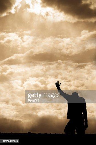 Sepia Prayer Silhouette