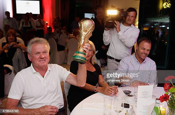 Sepp Maier and Holger Osieck celebrate commemorating the FIFA World Championship 1990 final during the 2nd evening of the FIFA World Champions of...