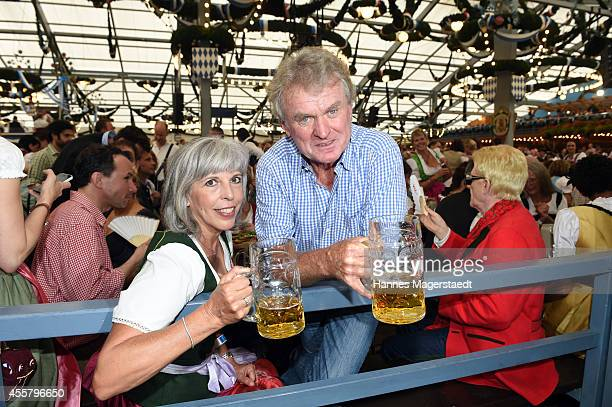 Sepp Maier and Monika Maier attend the opening day at Schottenhamel beer tent of the 2014 Oktoberfest at Theresienwiese on September 20 2014 in...