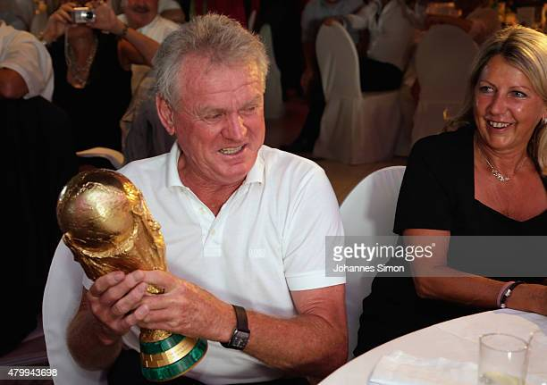 Sepp Maier celebrates commemorating the FIFA World Championship 1990 final during the 2nd evening of the FIFA World Champions of 1990 meeting at...