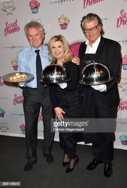 Sepp Maier Marianne Hartl and Michael Hartl during the Jose Carreras charity dinner at Schuhbecks Teatro on February 13 2017 in Munich Germany