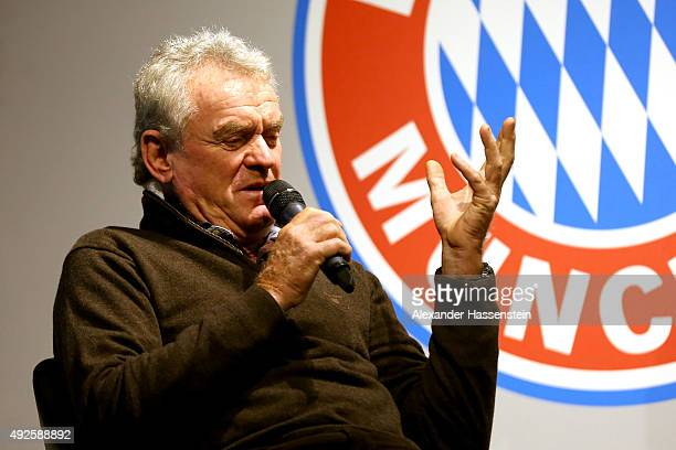 Sepp Maier of FC Bayern Muenchen talks to the media during the launch of the new book 'Mythos FC Bayern' at FC Bayern Muenchen Erlebniswelt museum on...