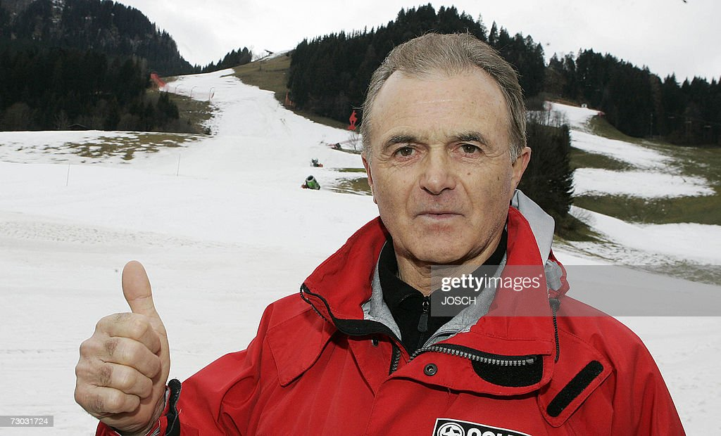 Sepp Messner from the International Ski Federation gives the thumbs up in the finish area of the Hahnenkamm racing course in Kitzbuehel Austria 18...