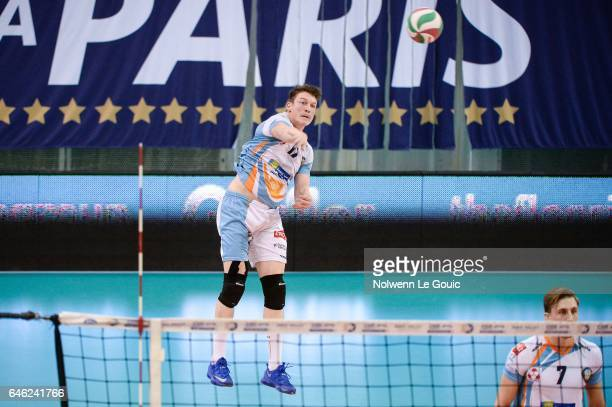Seppe Baetens of Nantes during the volleyball Ligue A match between Paris Volley and Nantes Reze at Salle Pierre Charpy on February 23 2017 in Paris...