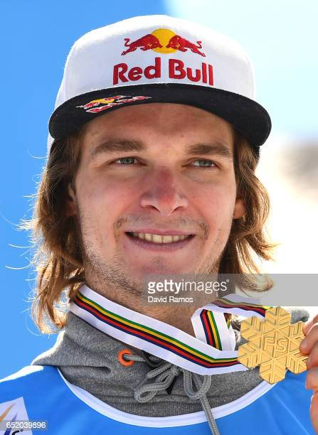 Seppe Smits of Belgium celebrates winning his Gold medal during the medal ceromeny after the Men's Slopestyle Final on day four of the FIS Freestyle...