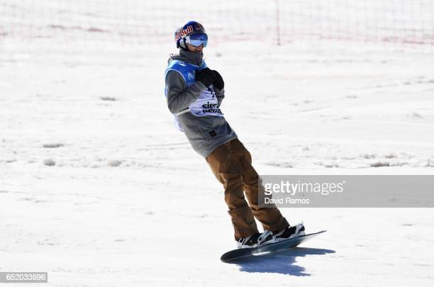 Seppe Smits of Belgium celebrating after his second run during the Men's Slopestyle Final on day four of the FIS Freestyle Ski and Snowboard World...