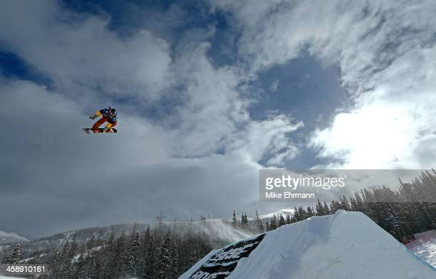 Seppe Smits of Belgium competes during finals for the mens FIS Snowboard Slopestyle World Cup at US Snowboarding and Freeskiing Grand Prix on...
