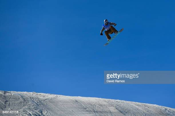 Seppe Smits of Belgium in action during slopestyle training during previews of the FIS Freestyle Ski Snowboard World Championships 2017 on March 7...