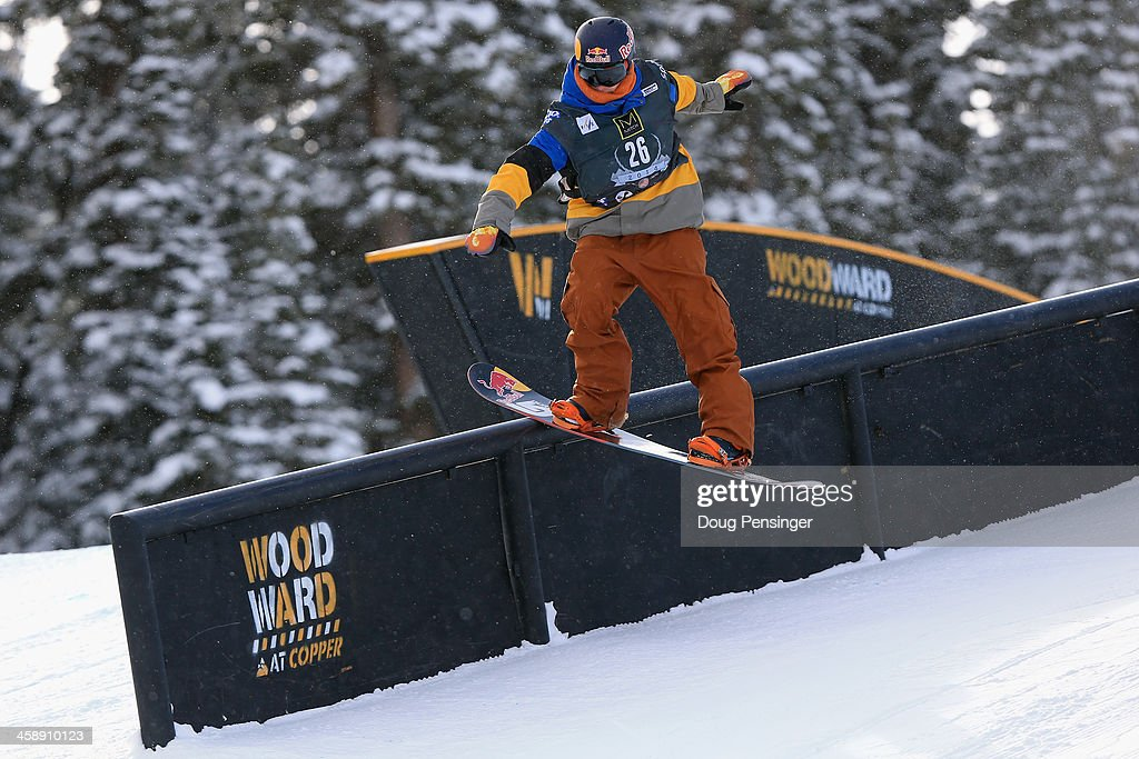 Seppe Smits of Belgium rides to 11th place in the men's FIS Snowboard Slopestyle World Cup at the U.S. Snowboarding and Freeskiing Grand Prix on December 22, 2013 in Copper Mountain, Colorado.