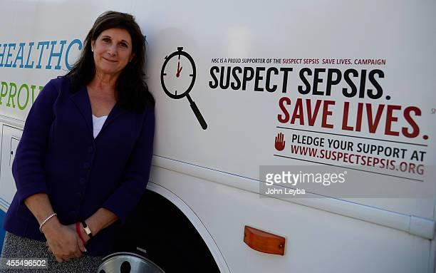 Sepsis survivor Pamela Popp Executive Vice President/ Chief Risk Officer Western Litigation outside the mobile unit during a Sepsis medical training...