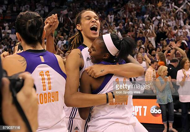 Mercury Center Brittney Griner celebrates with teammate Shay Murphy after the game The Phoenix Mercury host the Minnesota Lynx in the 3rd game of the...