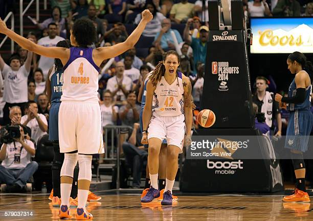 Mercury Center Brittney Griner reacts to her basket and being fouled The Phoenix Mercury host the Minnesota Lynx in the 3rd game of the Western...