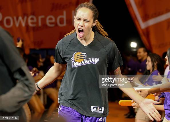 Mercury Center Brittney Griner runs onto the court before the game The Phoenix Mercury host the Minnesota Lynx in the 3rd game of the Western...