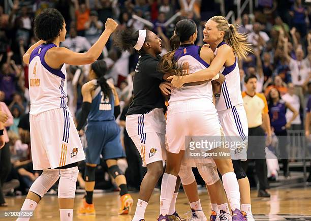 Mercury teammates celebrate Diana Taurasi halfcourt baset at the end of the 3rd quarter The Phoenix Mercury host the Minnesota Lynx in the 3rd game...