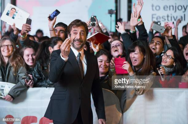 TORONTO Sept 10 2017 Actor Javier Bardem poses for photographs with fans at the North American premiere of the film 'Mother' at Princess of Wales...