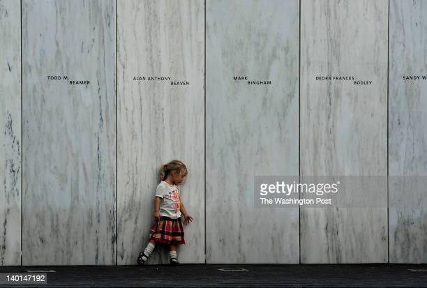 3 yearold Lyra Nacke at the memorial wall during private time there for survivor families Her uncle Louis Nacke died on Flight 93 Thousands attended...