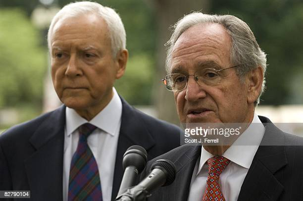 Sen Orrin G Hatch RUtah and Sen Tom Harkin DIowa after the Senate passed by voice vote a bill that would restore the intent and protections of the...