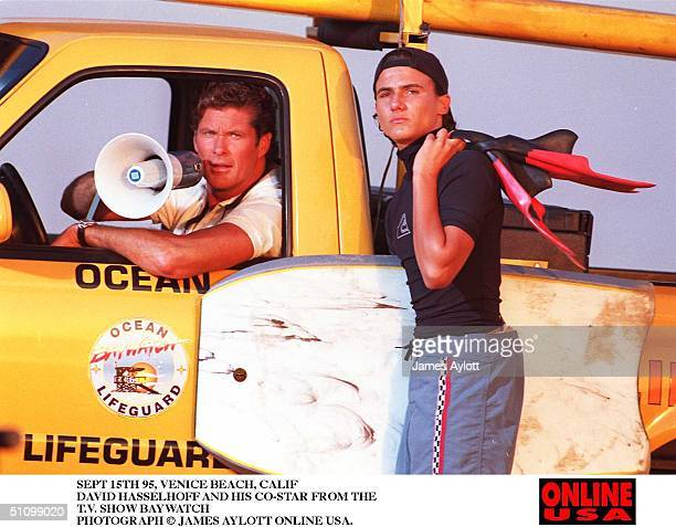Sept 15Th 95 Venice Beach Calif David Hasselhoff And CoStar Jeremy Jackson From The TV Show Baywatch