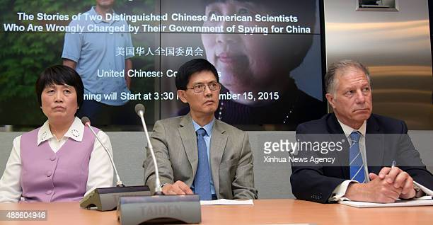 C Sept 16 2015ChineseAmerican scientist Dr Xiaoxing Xi center and ChineseAmerican hydrologist Sherry Chen left attend a press conference at Arent Fox...