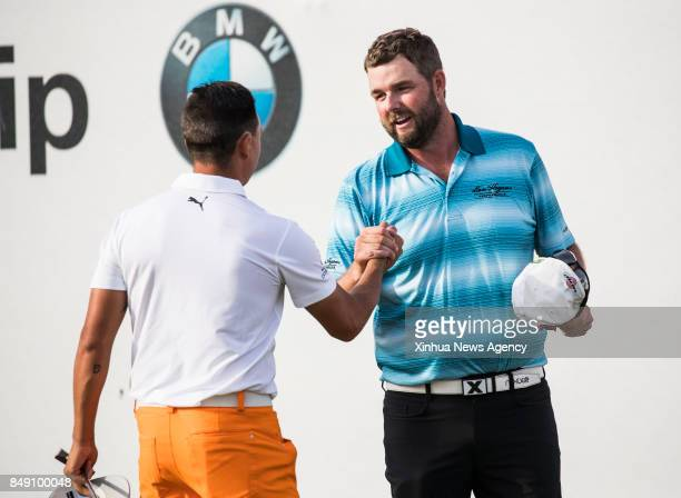 FOREST Sept 17 2017 Marc Leishman of Australia is congratulated after winning the BMW Championship golf tournament at Conway Farms Golf Club in Lake...