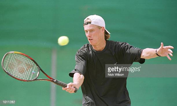 Lleyton Hewitt of Australia volleys in training before the Davis Cup Semi Final against Russia starting Friday at ANZ StadiumBrisbaneAustralia...