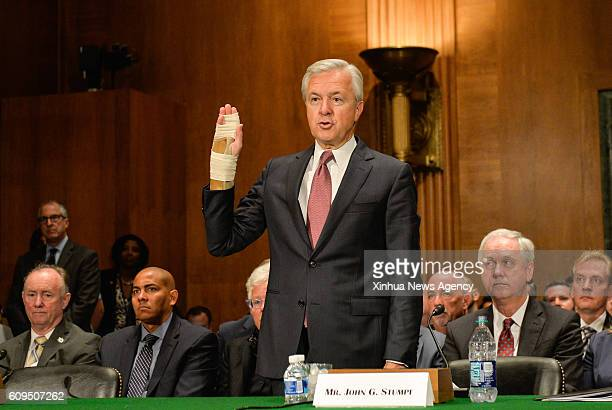 C Sept 20 2016 Wells Fargo's chairman and chief executive officer John Stumpf swears an oath before the US Senate Banking Committee on Capitol Hill...