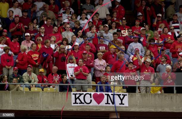 Kansas City Chiefs fans cheer during the singing of 'God Bless America' before the game against the New york Giants at Arrowhead Stadium in Kansas...