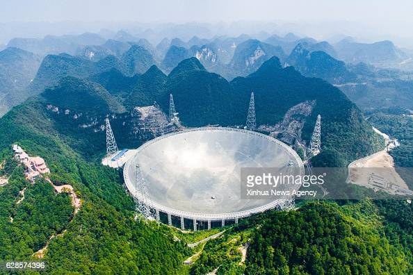 GUIZHOU Sept 24 2016 Photo taken on Sept 24 2016 shows the 500meter Aperture Spherical Telescope in Pingtang County southwest China's Guizhou...