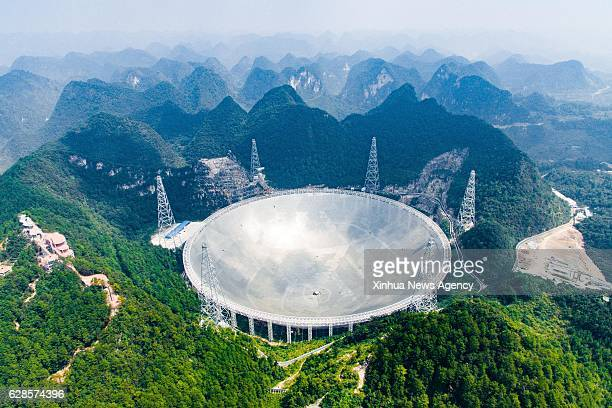 GUIZHOU Sept 24 2016 Photo taken on Sept 24 2016 shows the 500meter Aperture Spherical Telescope in Pingtang County southwest China's Guizhou...