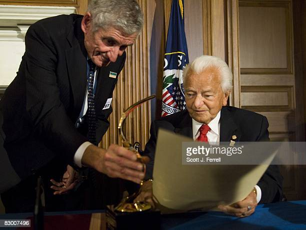National Council for History Education Board Chairman Theodore K Rabb and Sen Robert C Byrd DWVa during a ceremony at the US Capitol honoring him for...