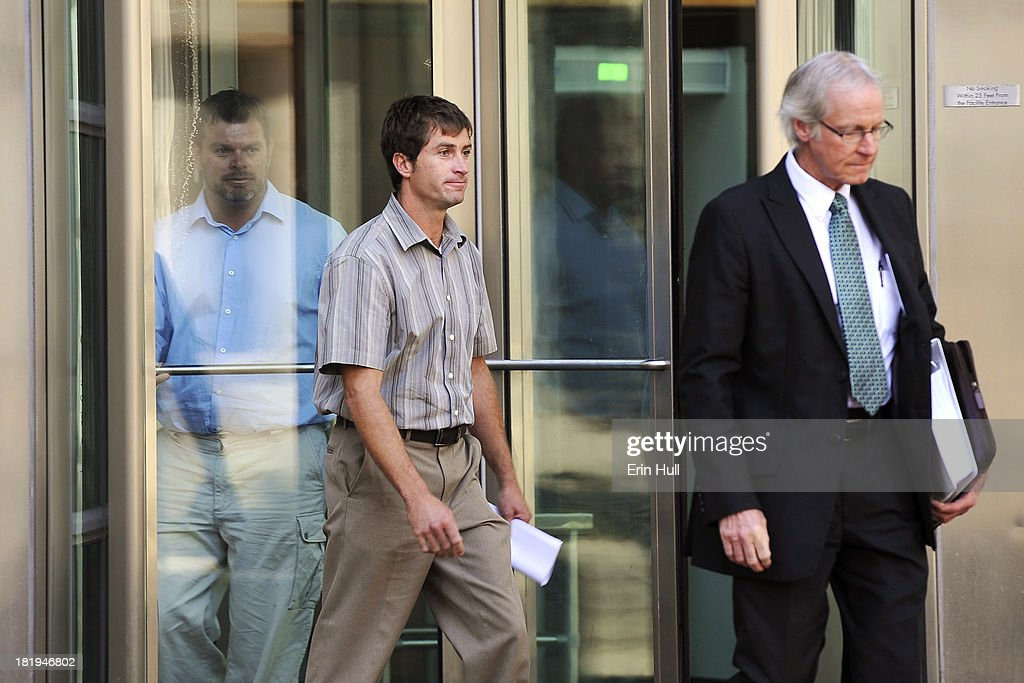 Sept 26, 2013 Eric (far left) and Ryan Jensen (center) walk out of the U.S. District Court after being arraigned and entering non-guilty pleas on charges linked to the 2011 cantaloupe outbreak.