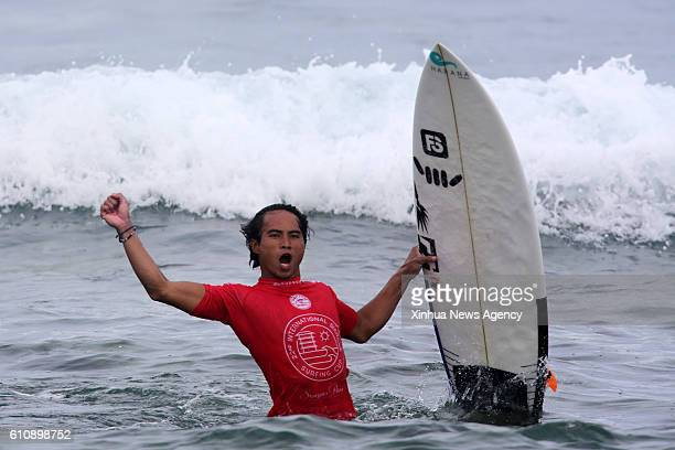 SIARGAO Sept 28 2016 Philmar Alipayo of the Philippines celebrates after winning in the semifinal round in the International Siargao Surfing Cup in...
