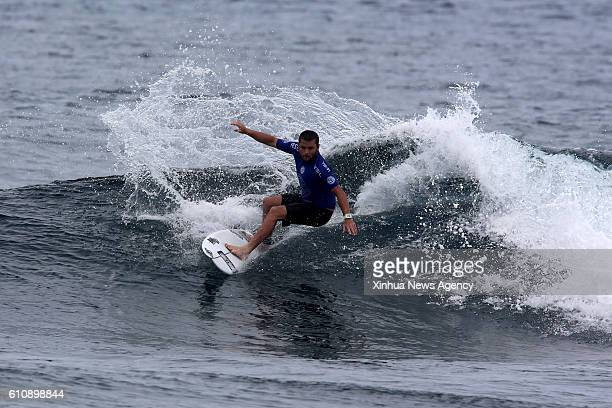 SIARGAO Sept 28 2016 Shane Holmes of Australia competes during the semifinal round in the International Siargao Surfing Cup in Siargao Island the...